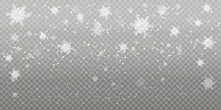 Christmas falling snow. Heavy snowfall, snowflakes in different shapes and forms. Falling snowflakes on transparent background. Snowfall. Vector illustration.