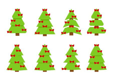 Winter collection of Christmas trees. Can be used for greeting card, invitation, banner, web design.