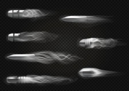 Realistic flying bullet. Smoke traces isolated on transparent background.