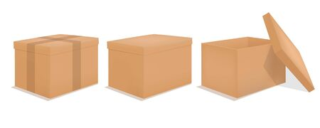 Cardboard box mockup. Set realistic Brown box. Vector illustration