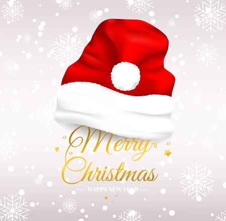 Merry Christmas text with santa hat vector design. Holiday greeting card. Isolated vector illustration. Иллюстрация