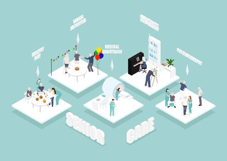 Doctors and nurses taking care of the patients and connecting together: healthcare and technology concept. isometric infographic