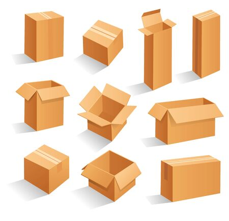 Set of blank brown cardboard packaging boxes. Can be use for medicine, food, cosmetic and other. Realistic illustration Иллюстрация