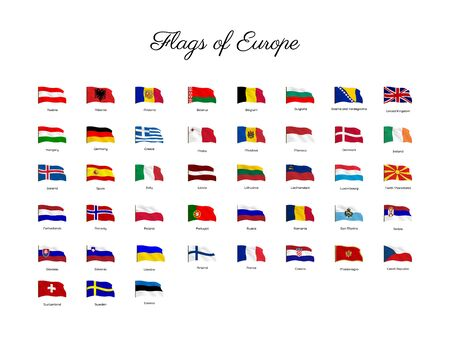 National flag of European countries with waving effect, Big collection of vector flags. Иллюстрация