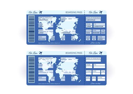 Airplane ticket. Boarding pass ticket template. Concept of travel, journey or business. Vector illustration Ilustrace