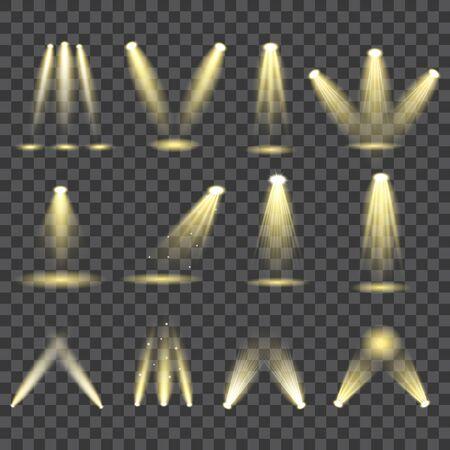 Scene illumination. Bright light beam. Transparent realistic effect. Иллюстрация