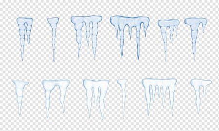 Set of translucent light blue icicles on white background. Vector illustration Иллюстрация