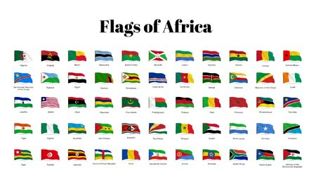 All national waving flags from all over the world. High quality vector flag isolated on white background