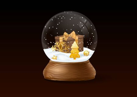 Christmas snow globe on black background. Winter in glass ball, crystal dome with present