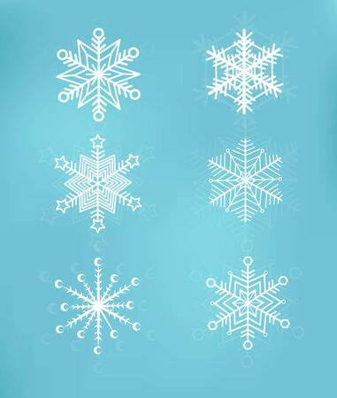 Cute snowflakes collection isolated on blue background. Snow flakes. Snow element for christmas banner, cards. New year ornament. Иллюстрация