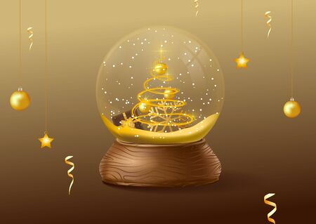 Vector christmas snowglobe on black background. Realistic traditional winter holiday decoration crystal with snow, christmas tree inside.