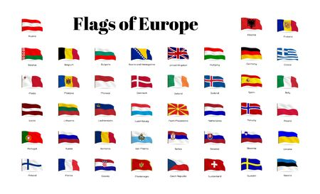 All national waving flags from all over the world. High quality vector flag isolated on white background Archivio Fotografico - 134208255
