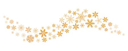 Snow blizzard of snowflakes. Whirlwind of golden snowflakes and stars. New Year's element. flat vector illustration isolated on white background Archivio Fotografico - 134208282