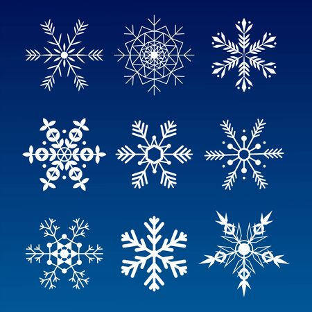 Collection snowflakes. Flat snow icons, silhouette. Nice element for Christmas banner, cards. New year ornament. Archivio Fotografico - 134208285