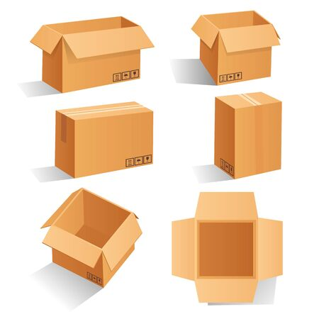 Cardboard box mockup set. open and closed mockup, isolated on white background. Brown delivery set vector. Realistic illustration Ilustração
