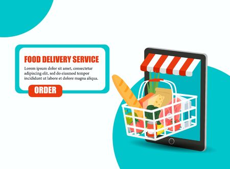 Order food, Grocery delivery at home and smartphone app: full shopping basket with fresh vegetables, food and beverage on a mobile phone display Archivio Fotografico - 134208307