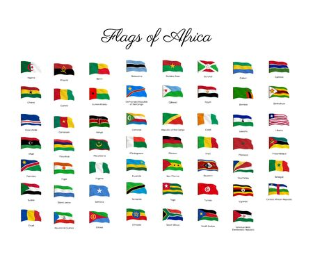 National flag of Asia countries with waving effect,  Big collection of vector flag. Archivio Fotografico - 134208315