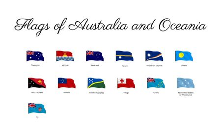 National flag of Oceania countries with waving effect,  Big collection of vector flag. Archivio Fotografico - 134208327
