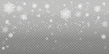 Heavy snowfall, snowflakes in different shapes and forms. Falling snowflakes on dark background. Snowfall. Vector illustration. Archivio Fotografico - 134208329