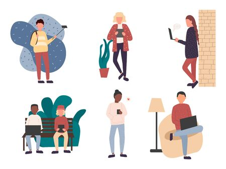 Crowd of young men and women holding smartphones and texting, talking, listening to music, taking selfie. Vector illustration Archivio Fotografico - 134208332
