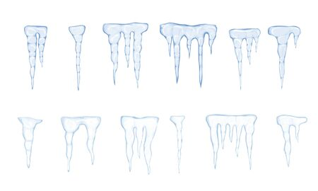 Set of translucent light blue icicles on white background. Vector illustration 스톡 콘텐츠 - 134208335