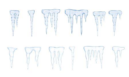 Set of translucent light blue icicles on white background. Vector illustration Archivio Fotografico - 134208335