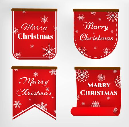 Vector, red merry christmas banners set, Paper scrolls, Ribbons, stickers. Banner with a congratulation. Vector illustration. Archivio Fotografico - 134208342