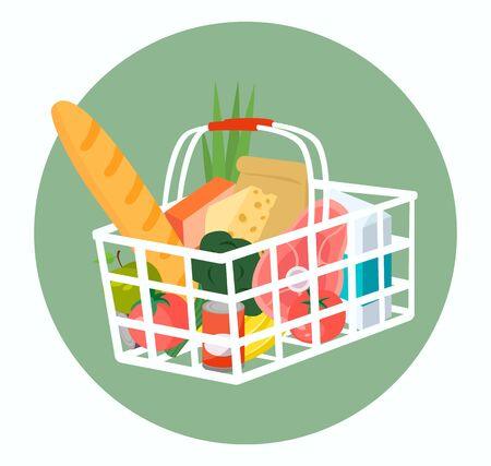 Shopping basket full of food and drinks. Vector illustration. Archivio Fotografico - 134208344