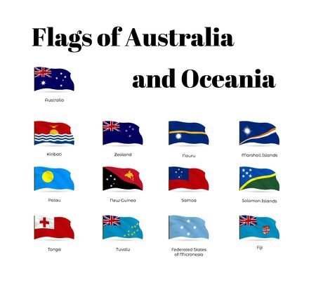 All national waving flags from all over the world. High quality vector flag isolated on white background Archivio Fotografico - 134208361