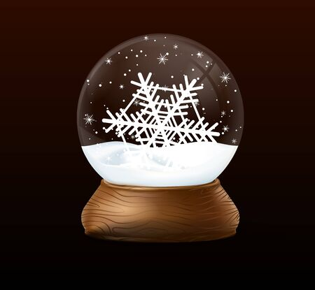 Christmas snow globe on black background. Winter in glass ball, crystal dome with snowflake Archivio Fotografico - 134208365
