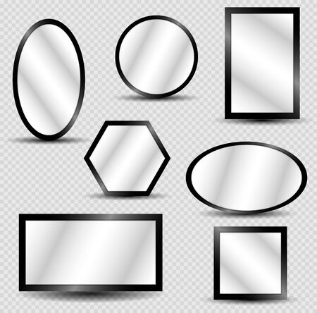 Vector realistic mirrors set with blurry reflection. Reflective mirror surface in silver frame, mirroring glass decor interior vector illustration Archivio Fotografico - 134208371