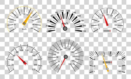 Speedometer and tachometer scales. Large collection. Vector illustration isolated on transparent background Archivio Fotografico - 134208372