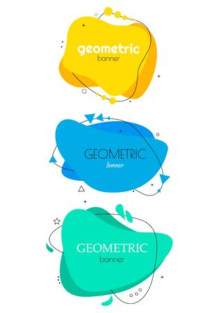 Set of modern abstract vector banners. Flat geometric shapes of different colors. Flat geometric vector banners. Archivio Fotografico - 134208374