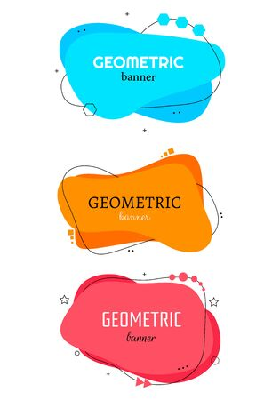 Set of modern abstract vector banners. Flat geometric shapes of different colors. Flat geometric vector banners. Archivio Fotografico - 134208403