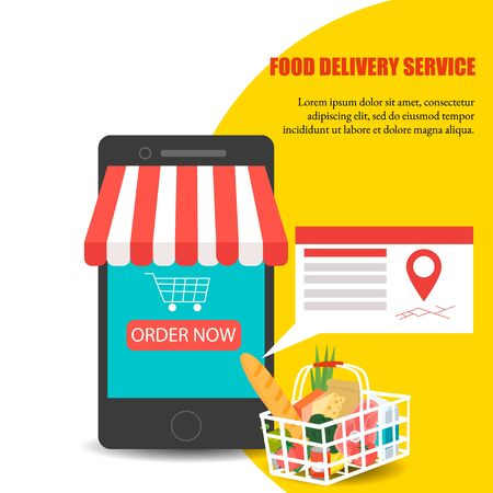 Order food, Grocery delivery at home and smartphone app: full shopping basket with fresh vegetables, food and beverage on a mobile phone display Archivio Fotografico - 134208408