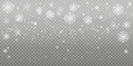 Christmas falling snow. Heavy snowfall, snowflakes in different shapes and forms. Falling snowflakes on transparent background. Snowfall. Vector illustration. Archivio Fotografico - 134208410