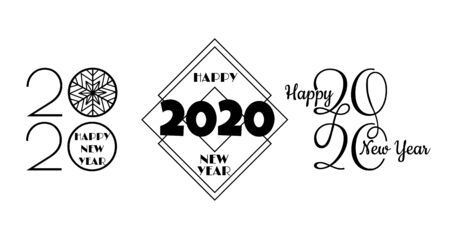 Set of 2020 happy new year signs. Collection of 2020 happy new year symbols. Vector illustration Archivio Fotografico - 134208415