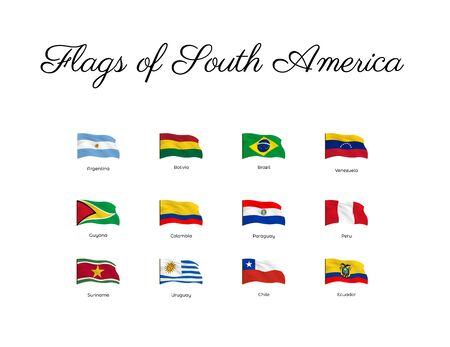 All national waving flags from all over the world. High quality vector flag isolated on white background Archivio Fotografico - 134208425