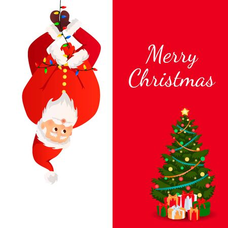 Santa Claus with Christmas tree. Christmas card. Funny cartoon Santa Claus with a huge red bag with gifts. Santa Claus for Christmas and New Year posters, gift tags and stickers. Archivio Fotografico - 134208459