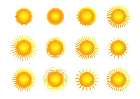 Vector set of suns. Vector illustration Archivio Fotografico - 134208461