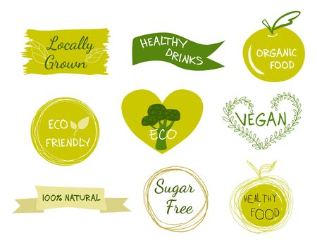 Vector eco, organic, bio  or signs. Vegan, raw, healthy food badges, tags set for cafe, restaurants, products packaging etc. Archivio Fotografico - 134452184