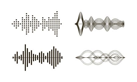 Black sound waves. Graphic design elements for financial monitoring, medical equipment, music app. Isolated vector illustration. Archivio Fotografico - 134452185