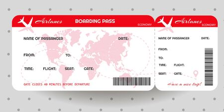 Airplane ticket. Boarding pass ticket template. Concept of travel, journey or business. Vector illustration Archivio Fotografico - 134452202