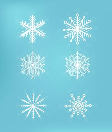 Cute snowflakes collection isolated on blue background. Snow flakes. Snow element for christmas banner, cards. New year ornament. Archivio Fotografico - 134452206
