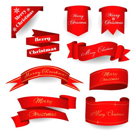 Merry christmas on a red scroll. Vector illustration. Archivio Fotografico - 134452220