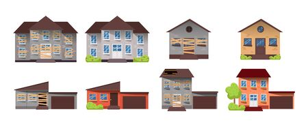 Home renovation. House before and after repair. New and old suburban cottage. Remodel building. Vector illustration