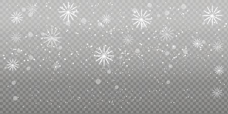 Heavy snowfall, snowflakes in different shapes and forms. Falling snowflakes on dark background. Snowfall. Vector illustration. Archivio Fotografico - 134452304