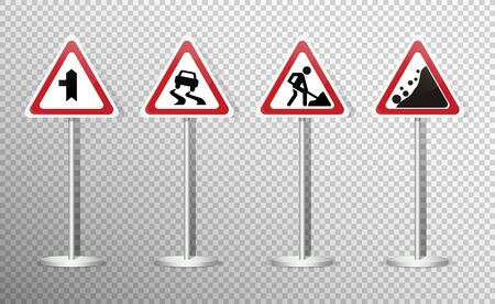 Set of road signs isolated on transparent background. Vector illustration. Archivio Fotografico - 134452313