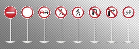 Set of road signs isolated on transparent background. Vector illustration. Archivio Fotografico - 134452315