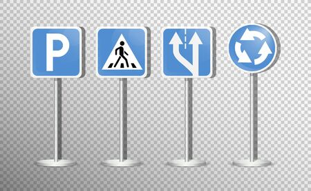 Set of road signs isolated on transparent background. Vector illustration. Archivio Fotografico - 134452371